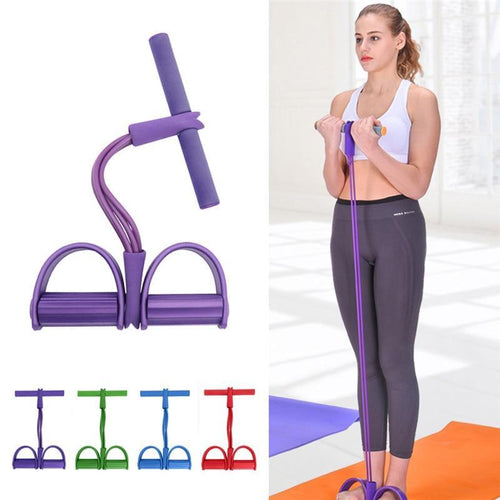 Bodybuilding Pull Rope 4 Tube Resistance Bands With Foot Pedal