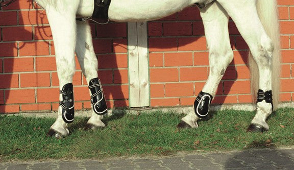 HKM Patent Leather Diamante Tendon Boots