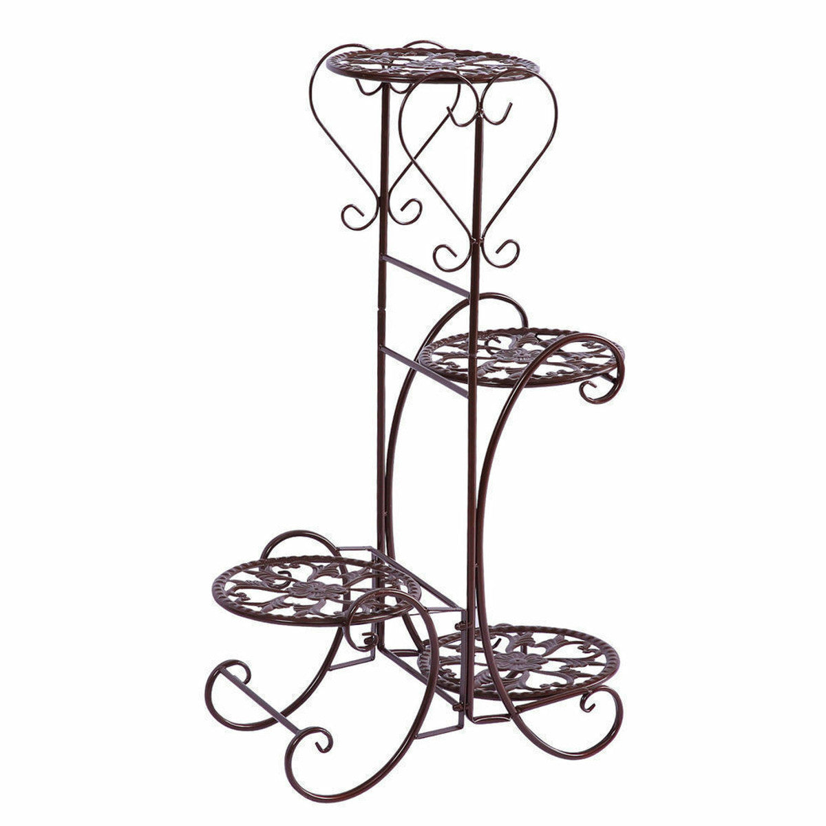 4 Tier Metal Shelves Flower Pot Plant Stand Display Indoor Outdoor Garden Patio