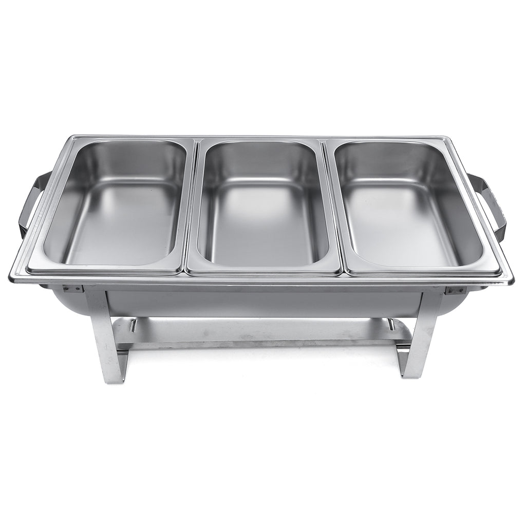 3 Plates Chafing Dish Tray Buffet Heating Stove Caterer Warmer Stainless Steel