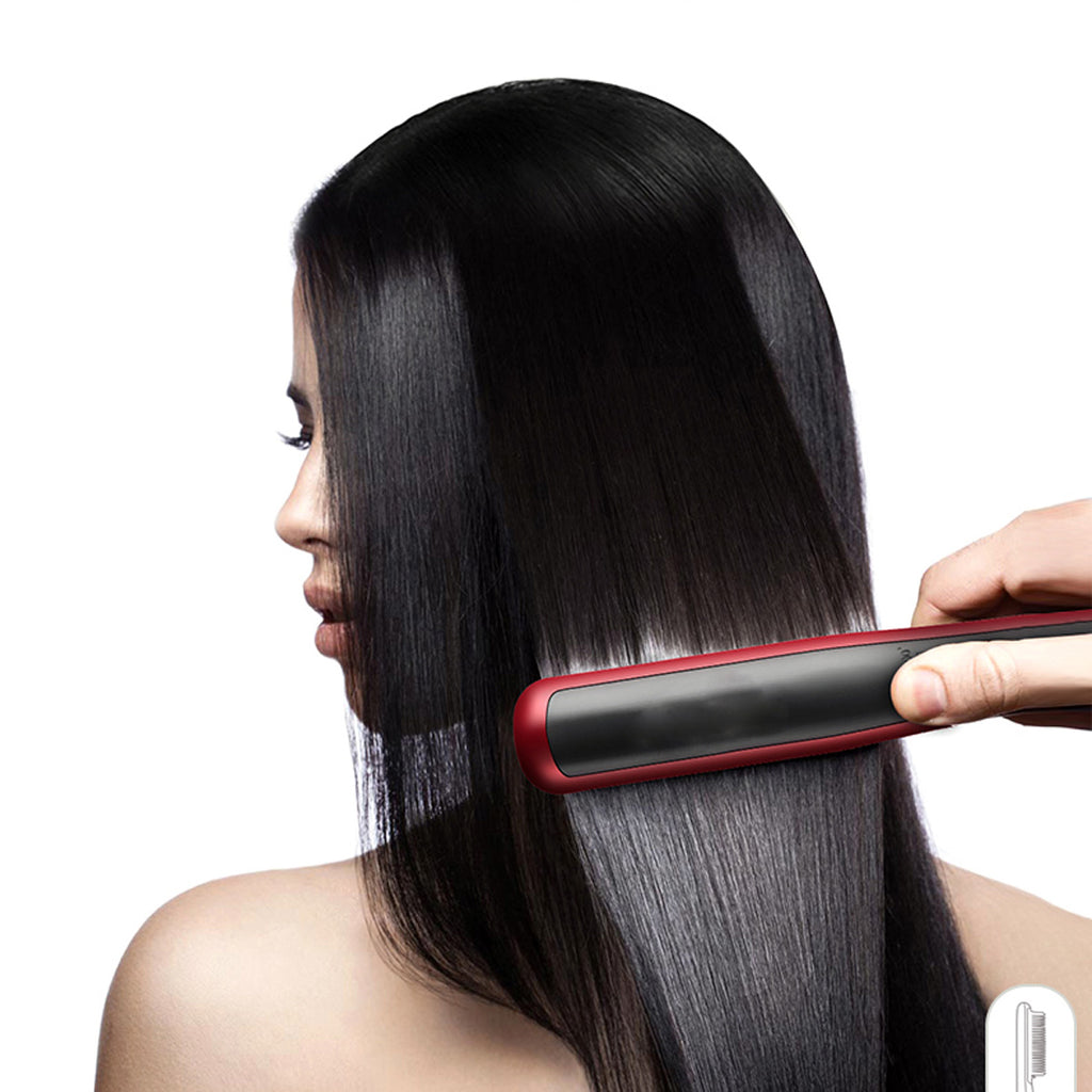 2 in 1 29W Electric Fast Hair Straightener Curling Styling Brush Comb Curler Iron