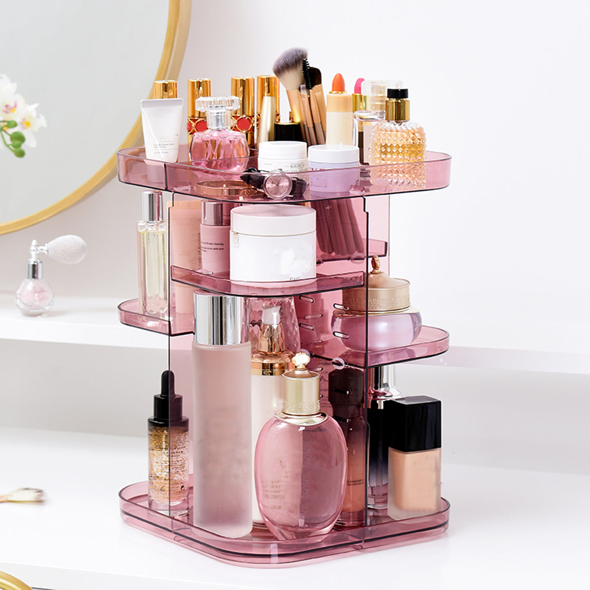 Adjustable 360 Rotating Makeup Jewelry Box Square Storage Rack Organizer Stand Display