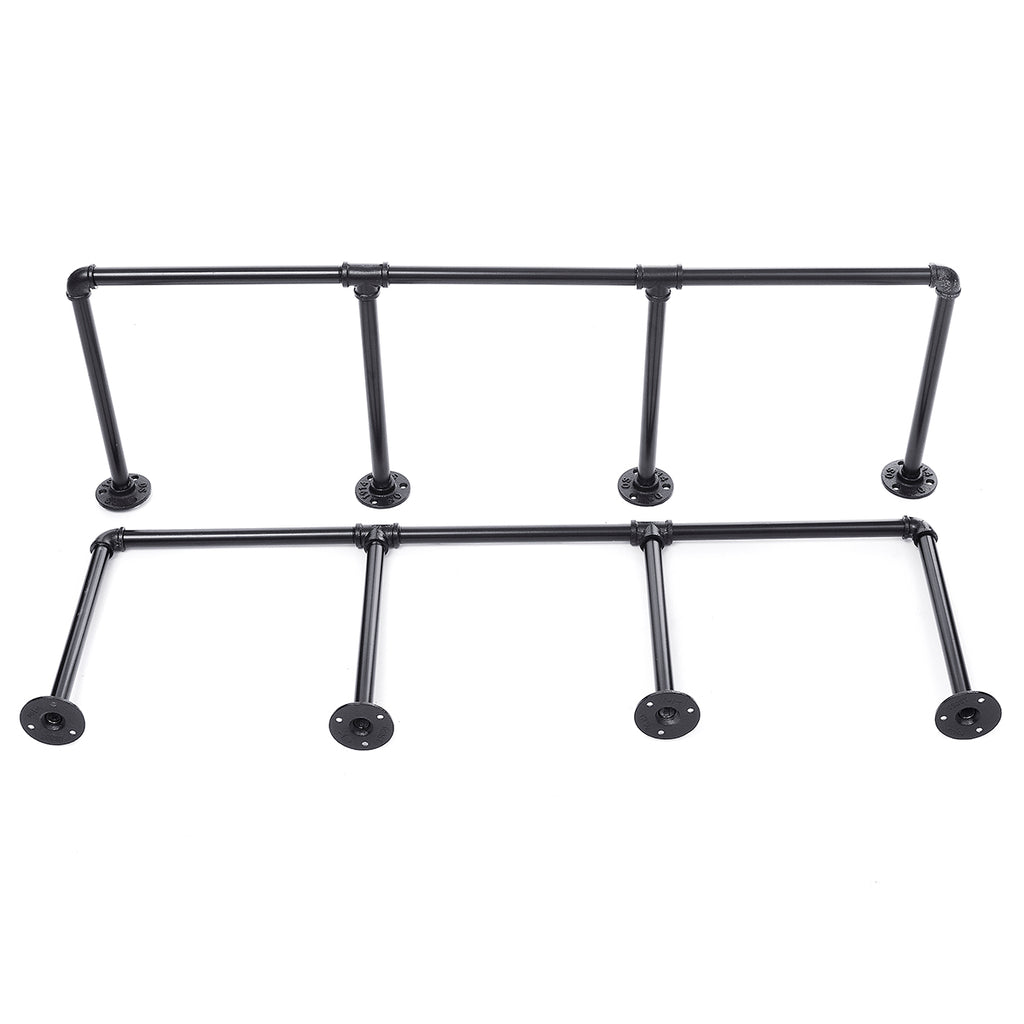 2Pcs 4 Tier Industrial Wall Mounted Iron Pipe Shelf Frame Bracket Floating Holder