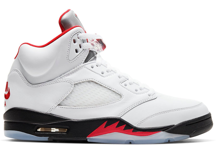 Jordan 5 Retro Fire Red Silver Tongue