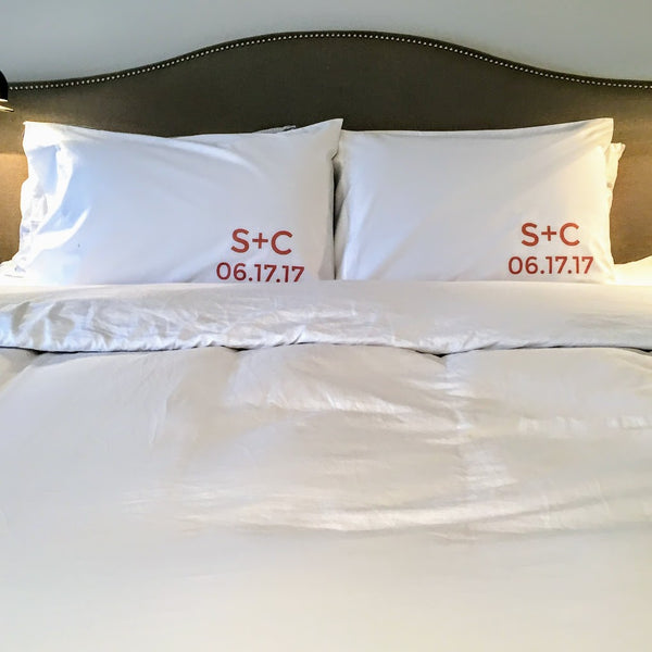 Monogrammed Wedding Pillow Cases