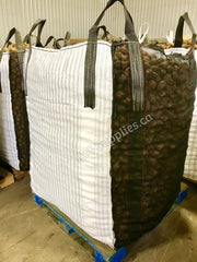 38 x 42 x 62 inch Bulk Bag 2200 pound SWL Open Top Discharge Spout Striped Fabric Potato Bag