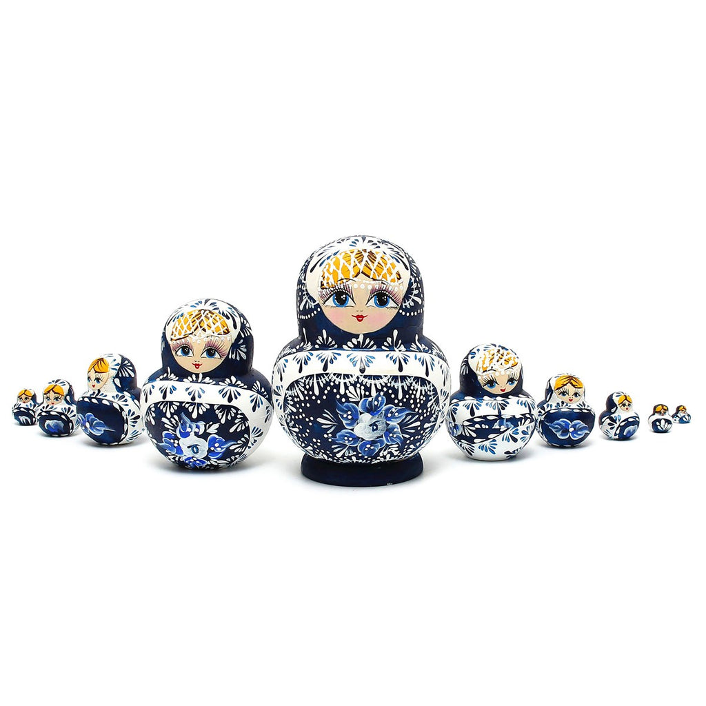 Russian Nesting Dolls 10pc Set Hand Painted In Blue