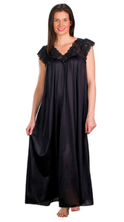 Shadowline Long Lace Cap Sleeve Nightgown - 32737