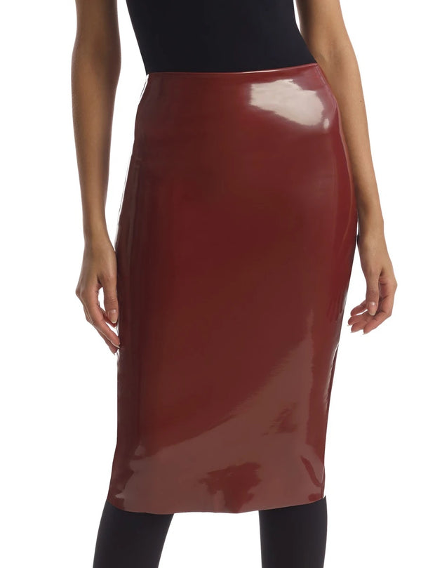 Commando Faux Patent Leather Midi Skirt - SK03