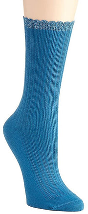 Hue Women's Scalloped Pointelle Crew Socks One Size - U2440