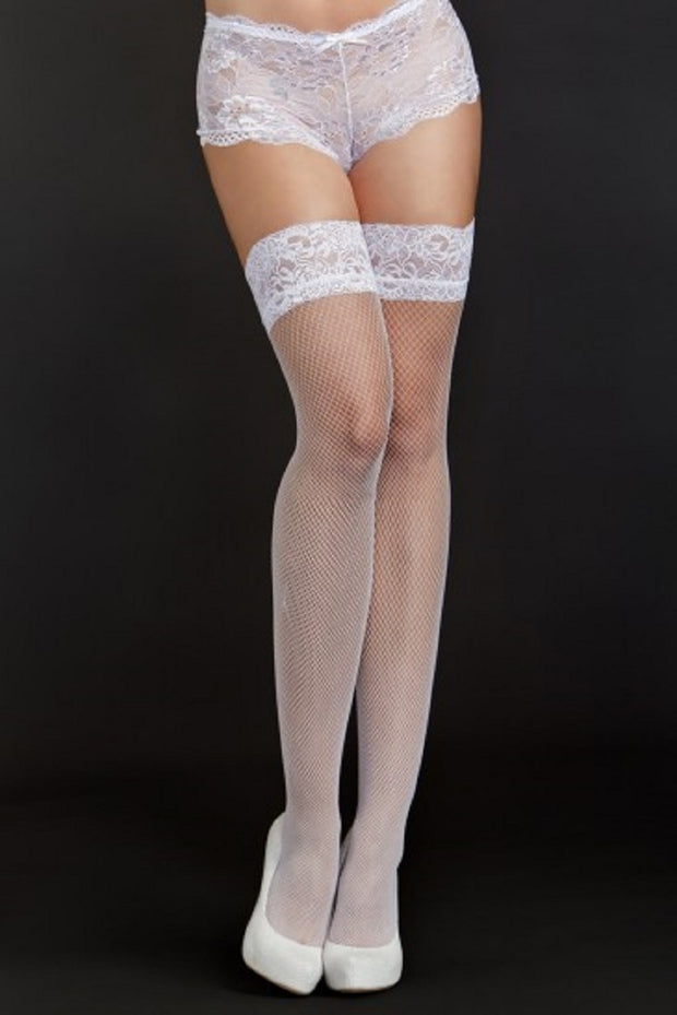 iCollection Lingerie Classic Easy Pull On Stay Up Fine Fishnet Thigh Highs 8633