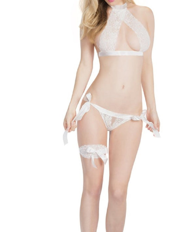 Oh La La Cheri Lace Bra with Peek-a-Boo Panty and Leg Garter One Size - 5007