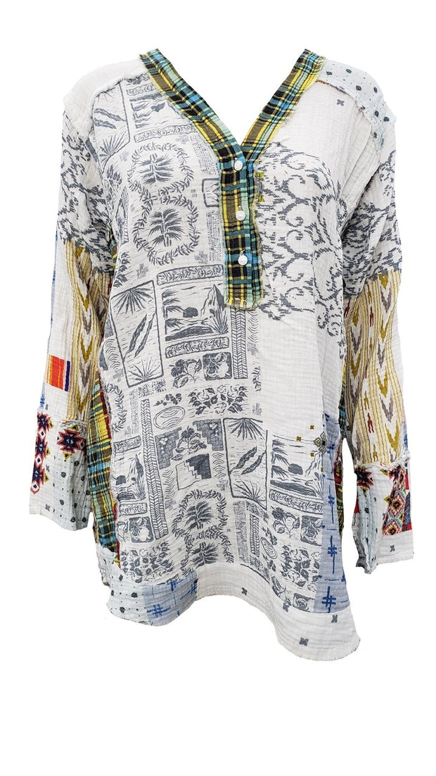 Johnny Was Tokyo Patchwork Gauze Blouse - P19220-2