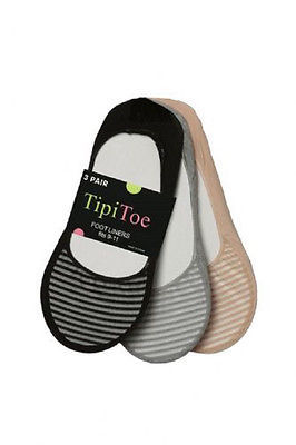 Tipi Toes 3 Pack Womens Foot Liners Assorted Colors One Size - PED27