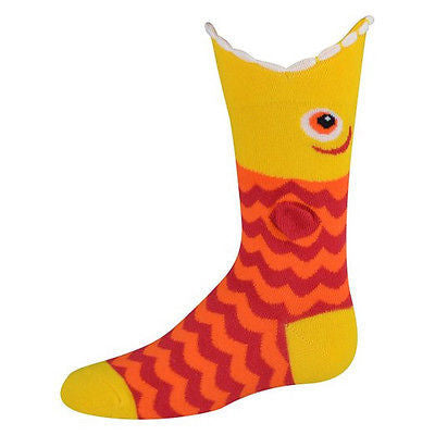 K. Bell Kid's Socks Wide Mouth Piranha Crew One Size Red - 61780K