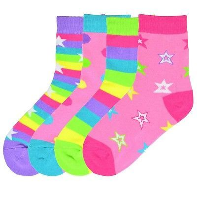 K. Bell Girl's Mix It Up Dots & Stars Crew Socks One Size - KBGF14H012-02