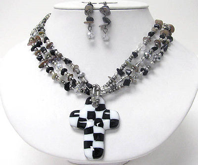 Michelle Ray Jewelry Black and white checker cross pendant and chip stone necklace earring set - S11249BKWH-1118119