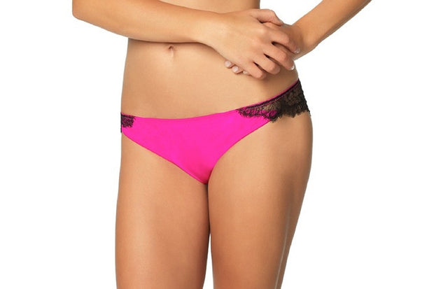 Felina Black Bow Satine Brazilian Thong Panty - 539985