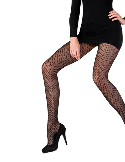 Pretty Polly Sheer Geo Tights One SIze Black - PNAWJ3