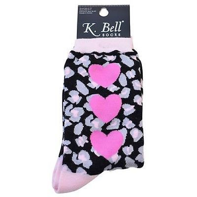 K. Bell Women's Leopard Hearts Crew Socks Black One Size - 14085