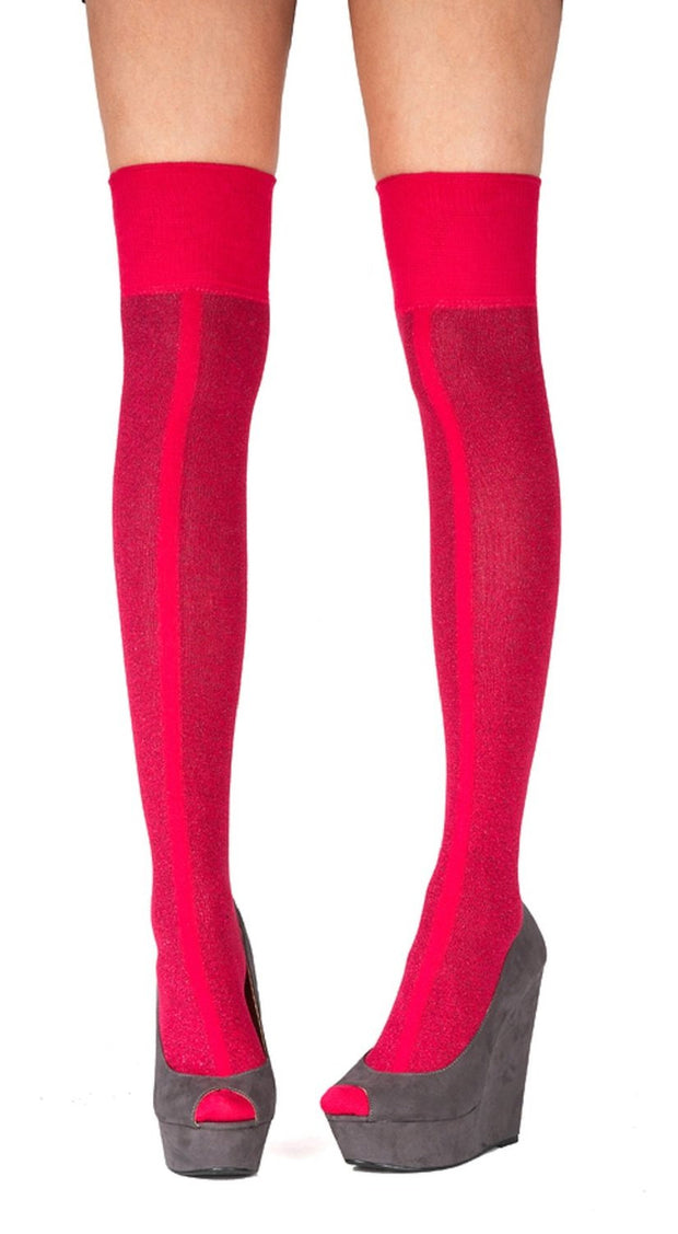 Pretty Polly Front Stripe Over The Knee Sock Pink One Size - P2ARU9