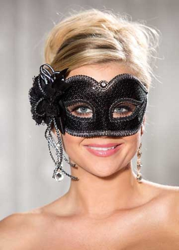 Shirley of Hollywood Black-Silver Sequin Half Mask - 915