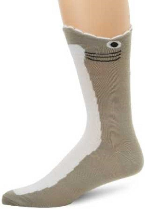 K. Bell Socks Men's Wide Mouth Shark One Size Gray - 61516M