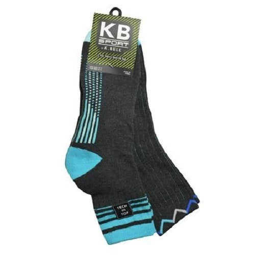 K. Bell Men's Variegated Stripe Hi Top Crew 2 Pair Pack Socks One Size - 68336M-2PK