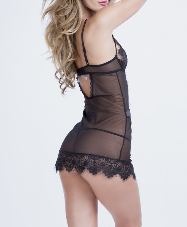 Oh la la Cheri Women's Eyelash Lace Chemise and G-String - 3113