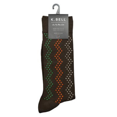 K. Bell Men's Zig Zag Crew Sock One Size - 68341M