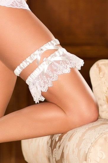 iCollection 2pc. Lace Garter Belt White One Size - 7401