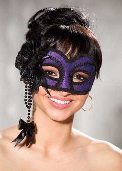 Shirley of Hollywood Purple Velvet Half Mask - 917