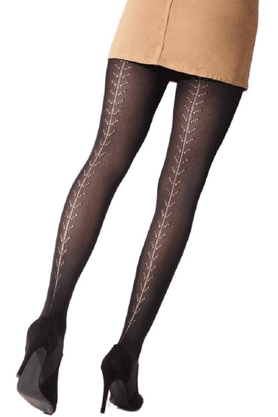 Pretty Polly Fashion Pattern Backseam Soft Opaque Tight Black - PNAWB1