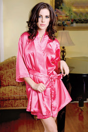 iCollection Satin 3-4 Sleeve Robe with Matching Sash - 7893
