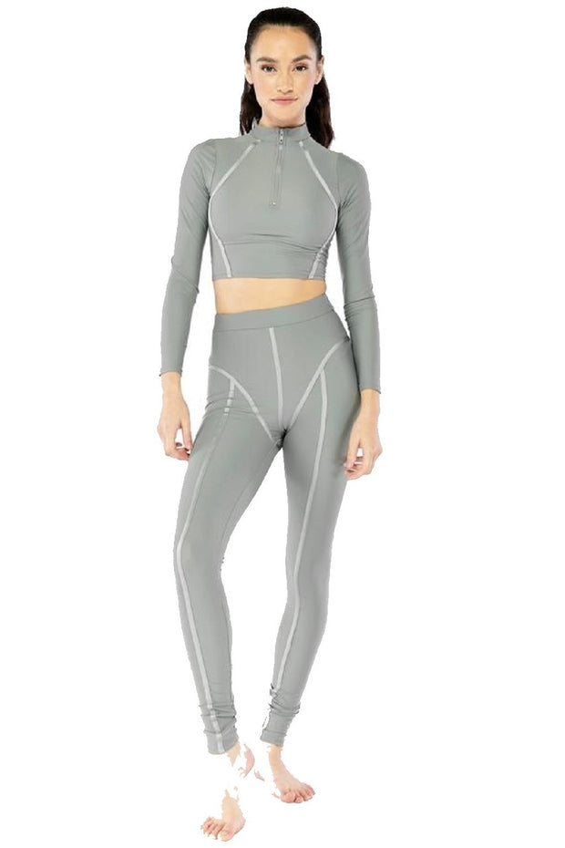 Electric Yoga Active Long Sleeve High Neck Zipper Oprah Crop Top - 201127
