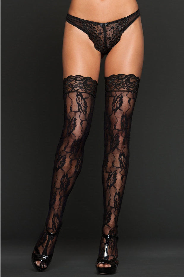 iCollection Lingerie Floral Lace Thigh Highs One Size - 8610