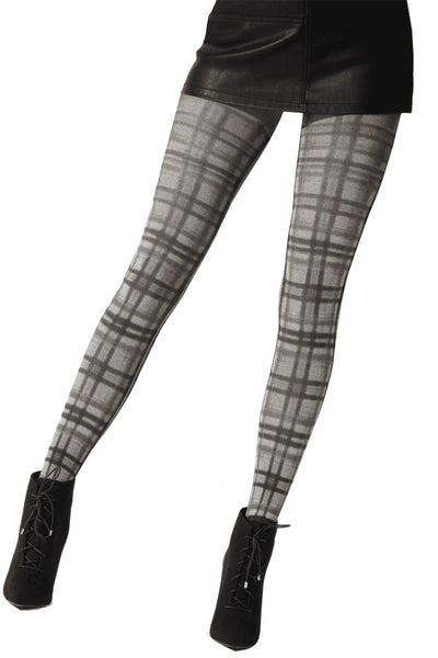 Pretty Polly Fashion Printed Tartan Tight Grey Mix - PNAWC1