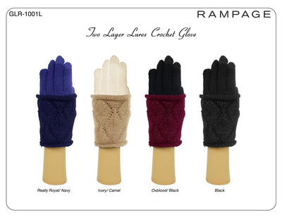 Rampage Two Layer Luxer Crochet Glove One Size - GLR-1001L