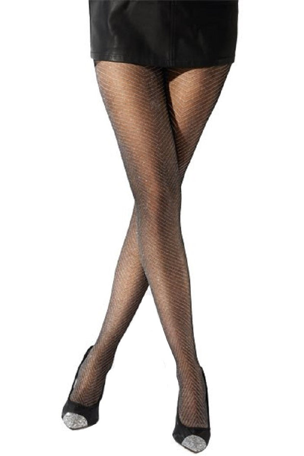 Pretty Polly Fashion Lurex Chevron Tight Black-Silver - PNAWB7
