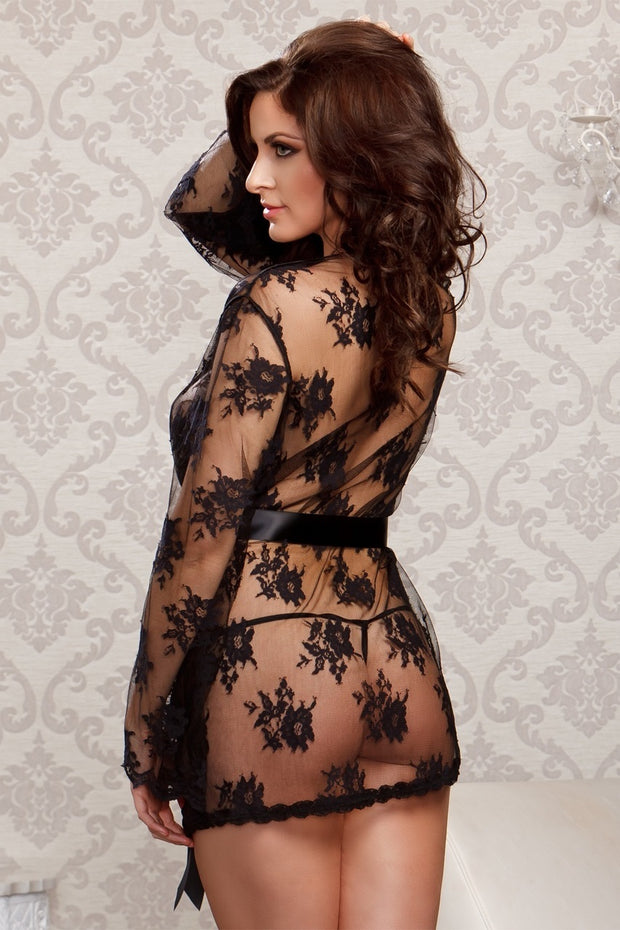 iCollection Lingerie Scallop Edge Trim Butterfly Sleeves Sheer Lace Robe - 7815