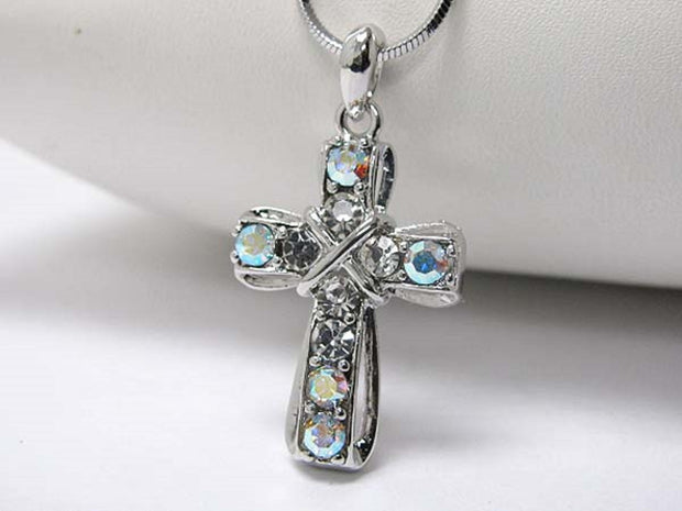 Michelle Ray Jewelry White gold plating crystal stud cross pendant necklace - I1233AB-21787
