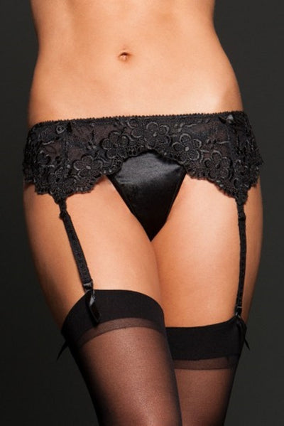 iCollection Embroidered lace garter belt - 7385