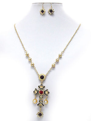 Michelle Ray Jewelry Crystal and epoxy deco antique cross pendant necklace earring set - Y11261GBK-111492