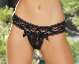 Shirley of Hollywood Stretch Lace Open Front Panty - 25217
