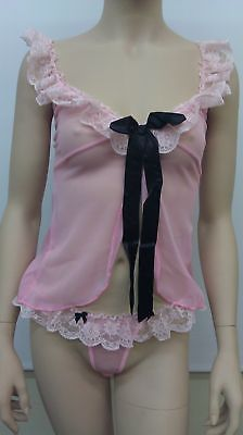 Leg Avenue Mesh Babydoll With Ribbon Tie & Thong, Pink-Black - 81300