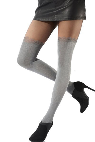 Pretty Polly Fashion Soft Grey Over the Knee Tight Black-Grey - PNAWB3
