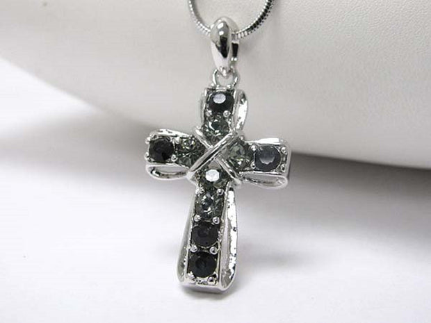 Michelle Ray Jewelry White gold plating crystal stud cross pendant necklace - I1233BK-21786