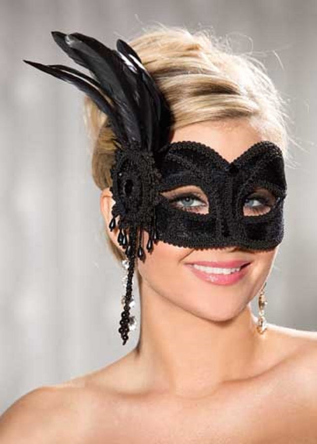 Shirley of Hollywood Black Velvet Half Mask - 918