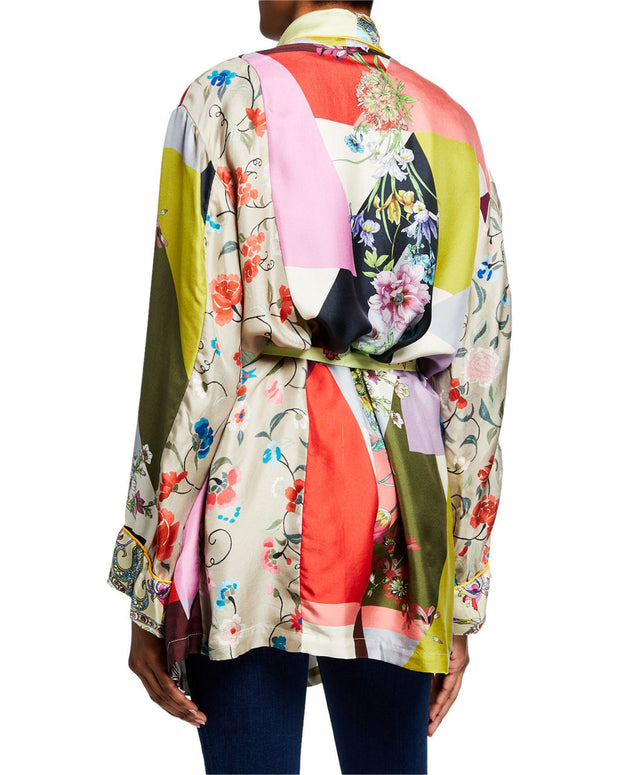 Johnny Was Flower Block Long Sleeve Silk Kimono Robe - C46619-2