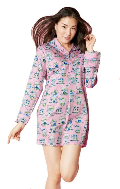 BedHead Pajamas Pink Cuppa Tea Sateen L-S Pleated Nightshirt 1231-CL7-6045
